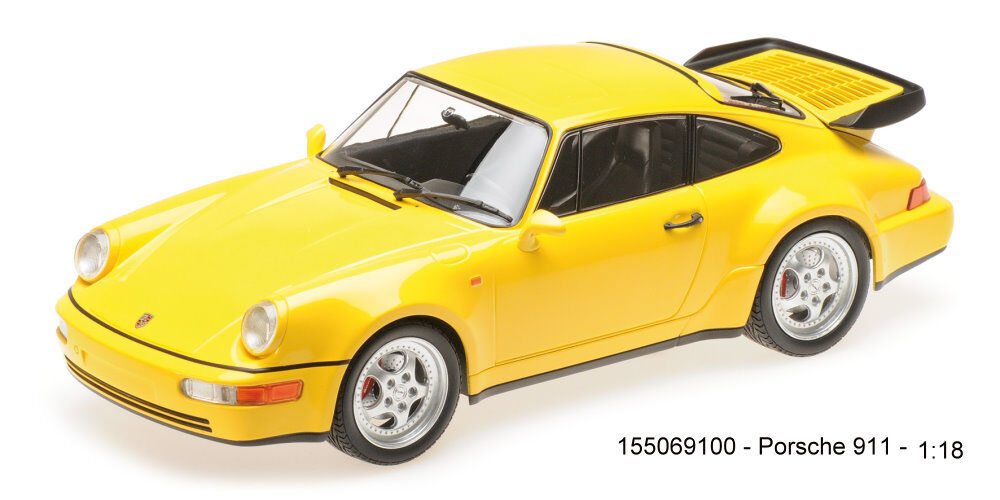 MINICHAMPS 155069100-Porsche 911 Turbo (964) – 1990 – jaune 1-18