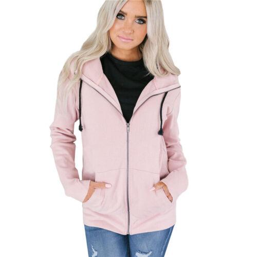 US4-18 Women Winter Zipper Hoodie Hooded Hoody Coat Jacket Sweatshirt Jumper Top