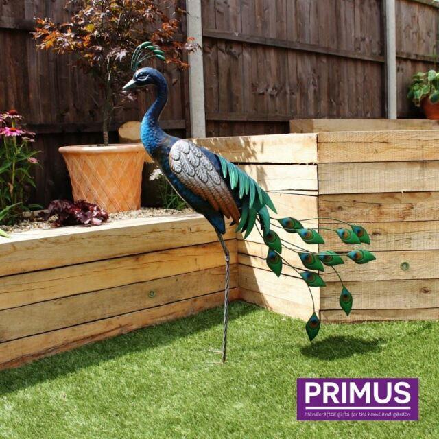 In piedi SCULTURA PAVONE da giardino in metallo Bird Ornamento da Primus