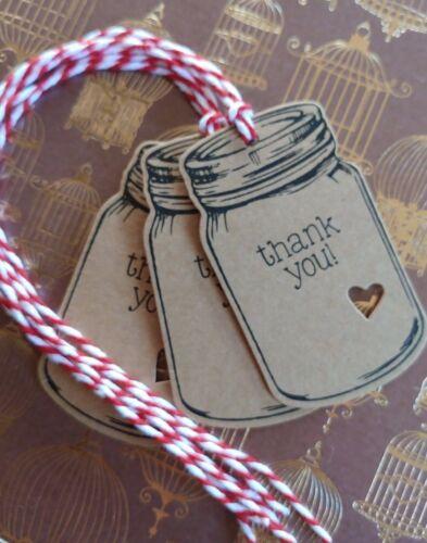 10 THICK KRAFT THANK YOU JAM JAR HEART TAGS LABELS HOMEMADE JAM GIFTS CHRISTMAS