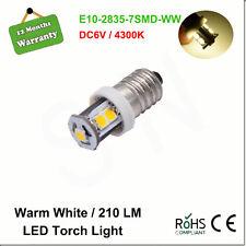 1X E10 SCREW 1447 Style 6V LED LAMP BICYCLE TORCH Warm White 4300k Light Bulb