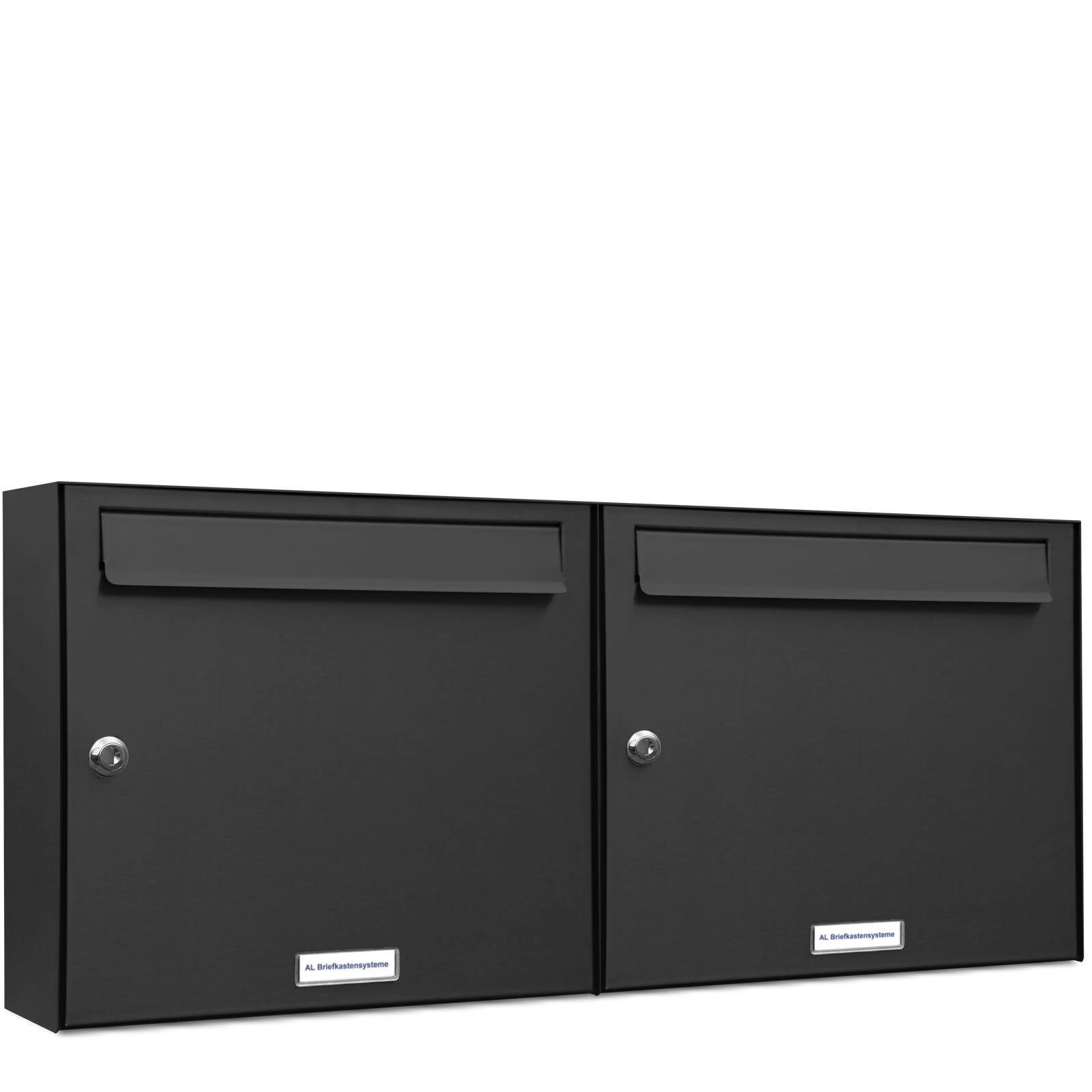 2 er Premium Wand Briefkasten Anthrazit RAL 7016 2 Fach A4 Postkasten design A4