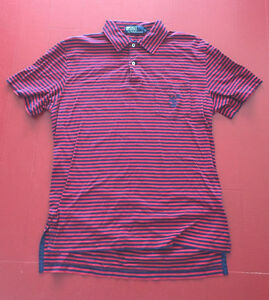 VINTAGE-90-039-s-POLO-by-RALPH-LAUREN-Red-Blue-Stripe-Shirt-SMALL-Nautical-Crest
