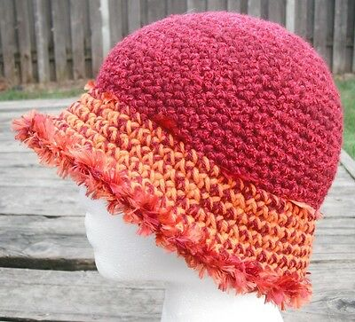 Charming & Playful Red/Orange Smaller Crocheted Cloche - Handmade by Michaela