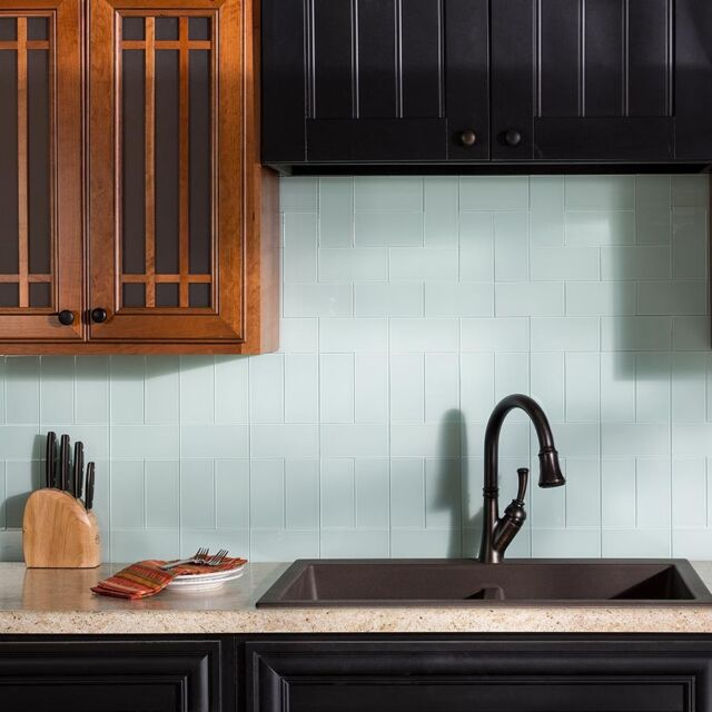 Peel And Stick Tile Blue Green Self Adhesive Glass Wall Bath Kitchen  Backsplash