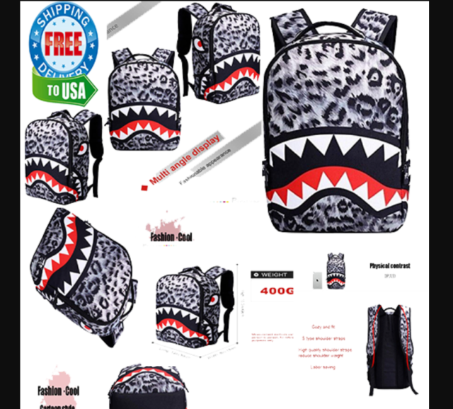 Ayo and Teo NEW Backpack Bag Bathing Ape Bape Head Teeth Shark Kids Unisex Red
