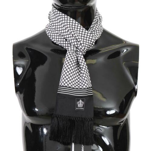 DOLCE /& GABBANA Scarf Black White Dot Print Crown Silk Shawl 16cmx140cm RRP $300
