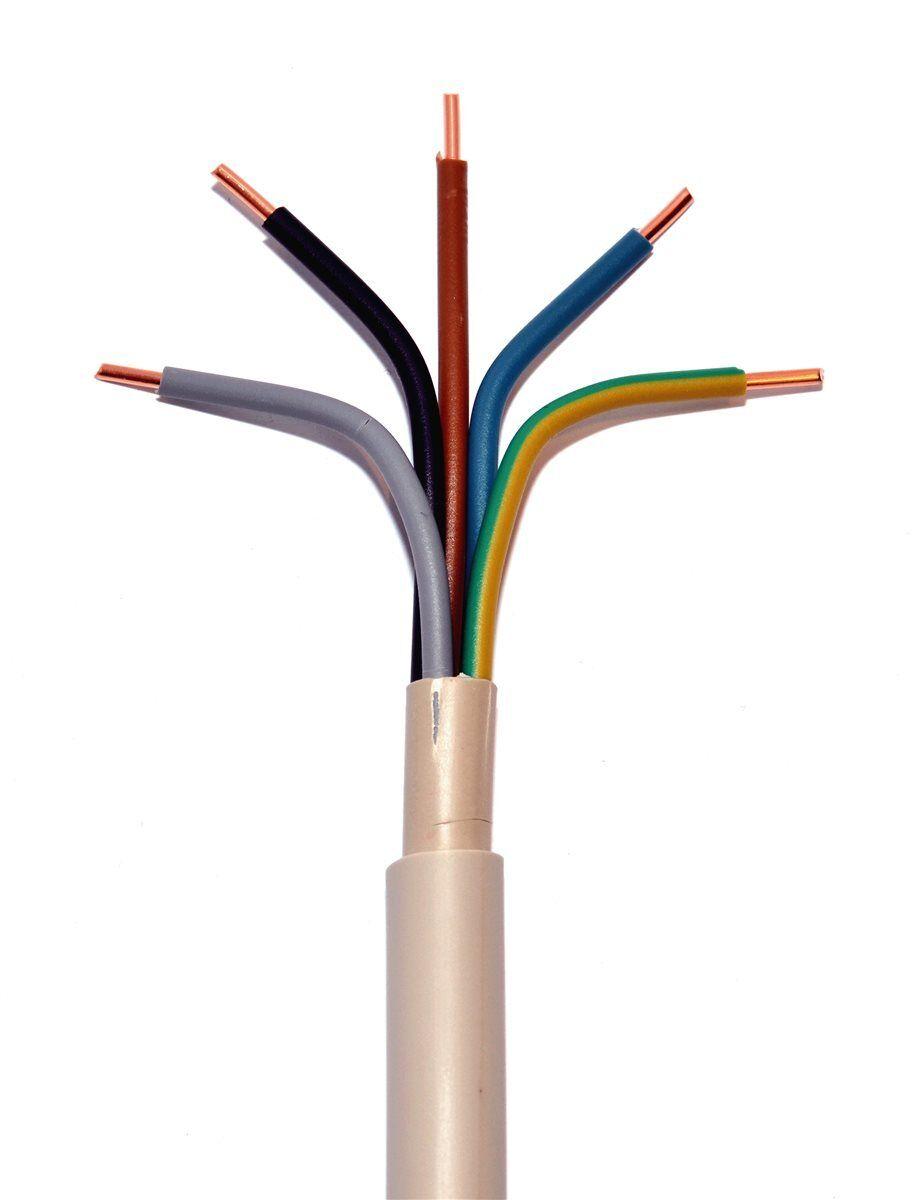 NYM-J 5x4,0mm² Mantelleitung Installationsleitung Feuchtraumkabel Meterware