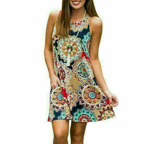 Sleeveless sundress Womens casual party boho evening cocktail short dress