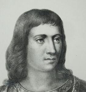 Antik-Print-Charles-VII-034-der-Siegreiche-Gut-Angerichtet-034-Koenig-aus-Frankreich