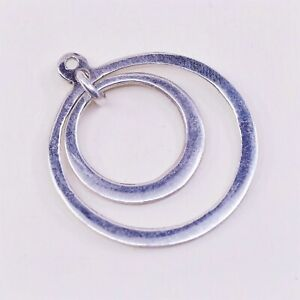 925 double circle pendant stamped 925 vintage two tone Sterling silver handmade pendant