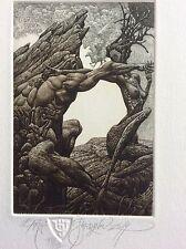 "JULIAN JORDANOV ,Etching , Ex Libris, ""Earth"" 2014 ,Limited Ed. 16/30"
