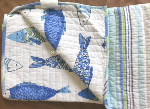4-pc ☆ TROPICAL FISH ☆ King Quilt Set Striped Catalina Beach House Coastal Blue