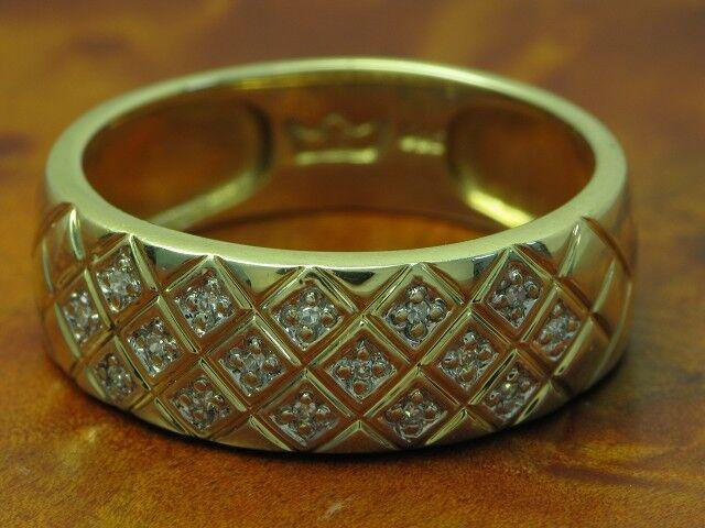 14kt 585 yellowgold Ring mit 0,16ct Brillant Besatz   Diamant   4,3g   RG 62,5