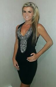 cd90b79bc25c Image is loading VICKY-MARTIN-black-bodycon-silver-sequin-cleavage-plunge-