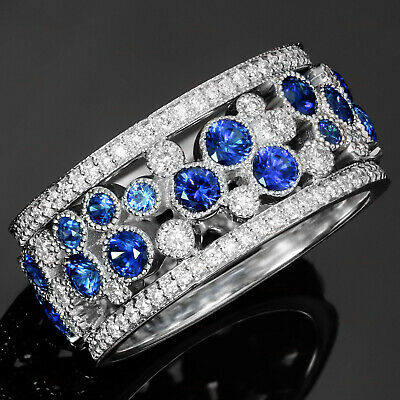 Blue Diamond Ring in Platinum Overlay Sterling Silver Nickel Free TGW 2.06 cts. Blue Sapphire Size 9 TDiaWt 0.03 cts