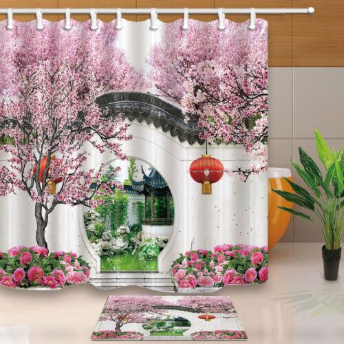 Chinese style architecture Shower Curtain set Lanterns cherry Bathroom Curtain