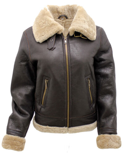 Women Leather Ww2 Brown Cream Jacket B3 Thick Flying Real Sheepskin qfqBOn