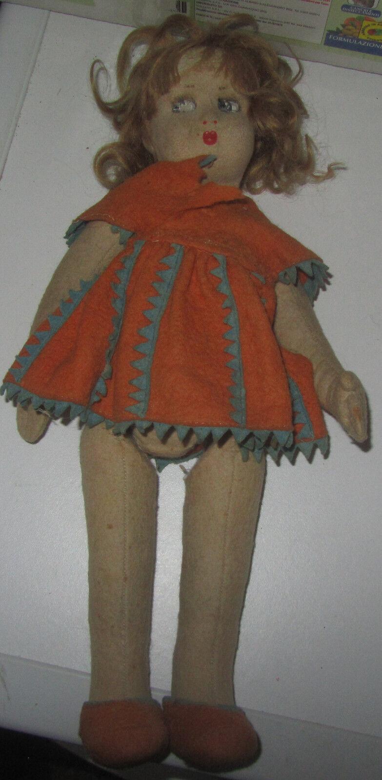 Bambola anni 40 in panno produzione italiana ALMA SPESE GRATIS