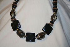 Handsome Chunky Black Squared Bead White Beige Snakeskin Goldtn Pendant Necklace