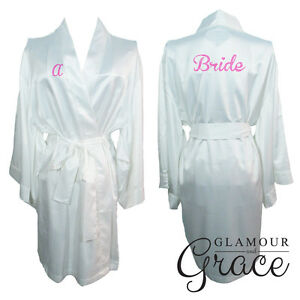 9ade956855 Image is loading White-Bridal-Bride-Bridesmaid-Wedding-Robe-Dressing-Gown-
