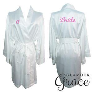 White Bridal Bride Bridesmaid Wedding Robe Dressing Gown Satin Silk Personalised