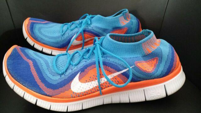 online store ae0df 47992 Nike Free Flyknit 5.0 Mens Sneakers Size 12 Orange Blue 615805-418 EUC
