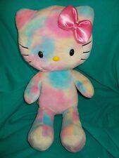 Hello Kitty Build A Bear plush stuffed watercolor rainbow tie dye plush cat bow
