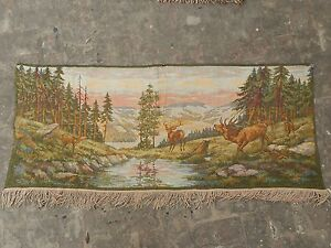 Vintage French Beautiful Stream Scene Tapestry 62x148cm A983