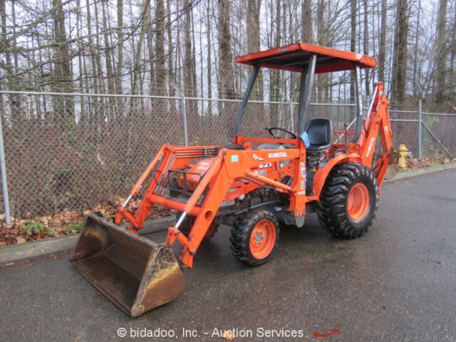 Kubota B21 4WD Diesel Backhoe Wheel Loader Tractor Utility PTO Ag Farm bidadoo