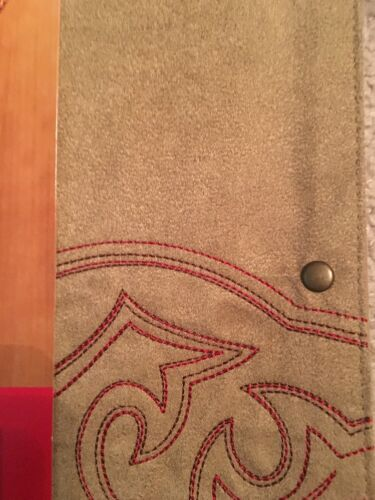 """Celebrate Local Life Together Faux Suede Tan 36/"""" Table Runner Red Western Stitch"""