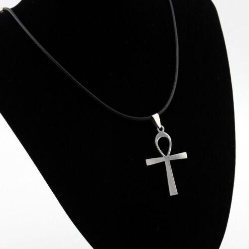 Runde echtes Leder Halskette ägyptische Ankh Kreuz Anhänger Halsreif Nizza X2R4