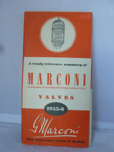 Marconi Valves 1955-6 Leaflet - Ready Reference Summary - Greatest Name in Radio