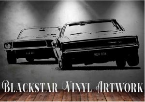 """BULLITT MOVIE 68 CHARGER 68 MUSTANG LARGE MAN CAVE DECAL WALL ART 23 X 55/"""""""