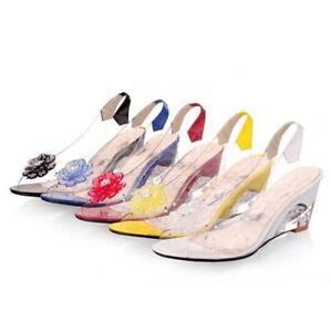 Womens-Transparent-Rhinestone-Open-Toe-Med-Heel-Wedge-Shoes-Slingback-Sandals-SZ