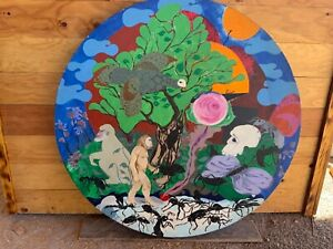 """Vintage 1978 Japanese Surreal Oil painting, Apeman and Ants F Kyoto """"Cycle One"""""""