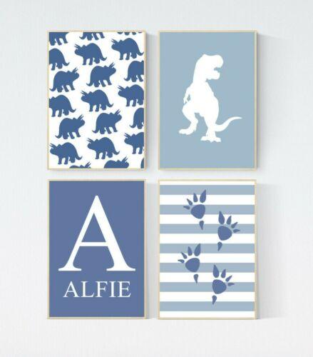 4 Prints Trex Dinosaur Personalised Name Nursery Boy Baby Wall Art Pictures