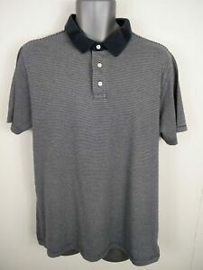 Homme-Jaeger-Marine-Blanc-a-Rayures-boutonne-a-manches-courtes-Casual-Polo-Shirt-L-Large