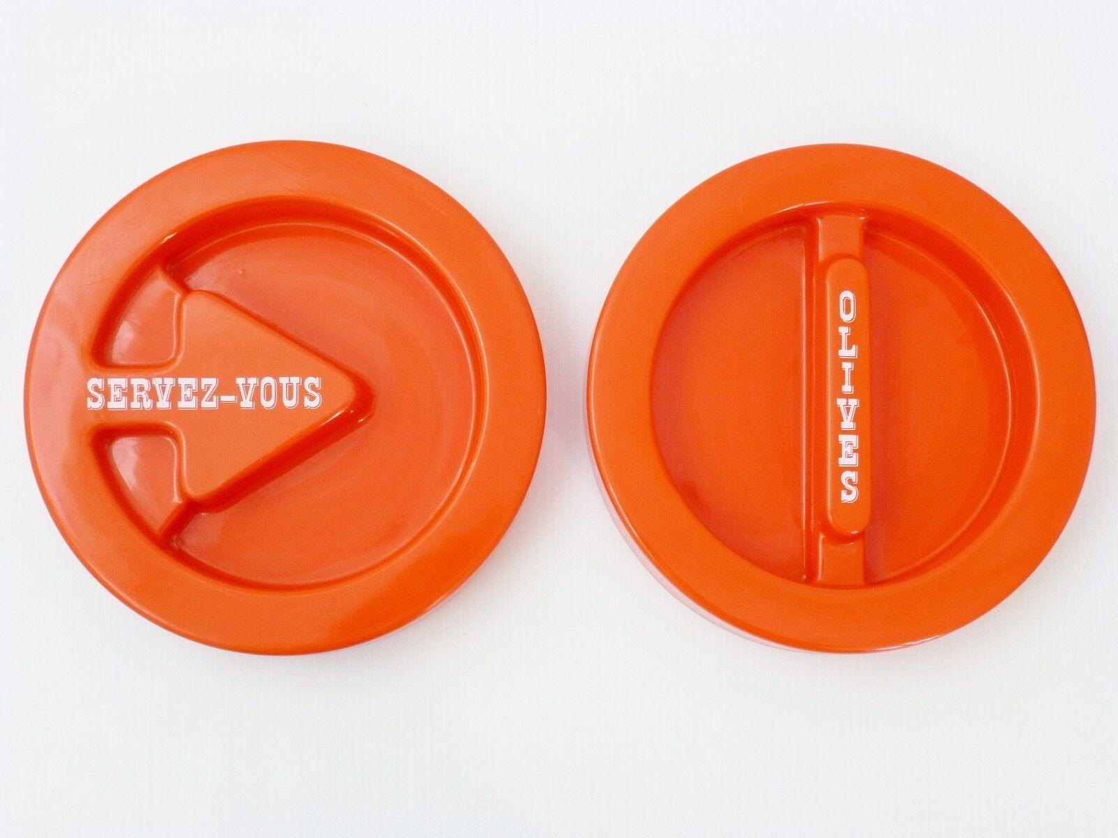 PAIRE DE PLATEAUX AMUSE-GUEULE PLASTIQUE Orange 1970 VINTAGE POP SPACE AGE 70's