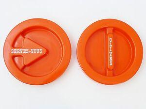 PerséVéRant Paire De Plateaux Amuse-gueule Plastique Orange 1970 Vintage Pop Space Age 70's