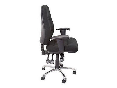 F300 - HIGH BACK FULLY ERGONOMIC - FABRIC CHROME BASE & ADJUSTABLE ARMS GAS LIFT