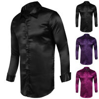 Luxury Stylish Men's Slim Fit Muscle Satin Collar Casual Shirts Tops Dress Shirt