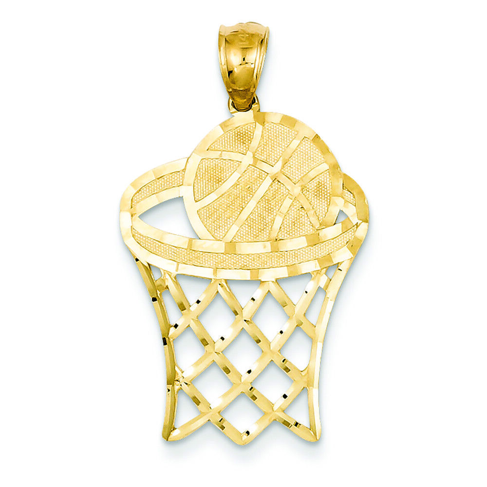 14K Yellow gold Basketball in Hoop Charm Pendant MSRP  247