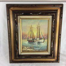 Signed Oil Painting Sail Boat Framed Wood Nautical Sea Ocean Gull Fish Fisherman