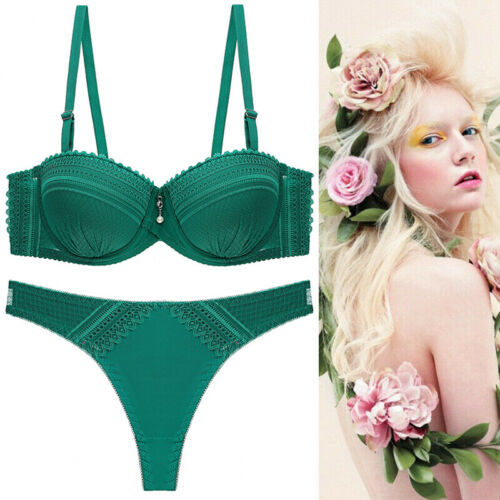 Details about  /Sexy Thong Bra Set Women/'s Solid Color Lace Underwear Set AA A B C Cup Lingerie