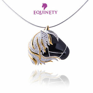 EquinEty-Glitzy-Black-Sterling-Silver-Horse-Necklace-Equestrian-Valentine-Gift
