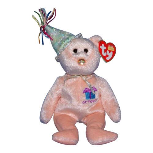 Birthday Ty Beanie Baby October MWMT Bear w// hat 2002