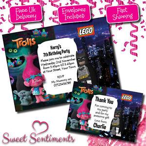 personalised lego batman trolls birthday party invitations thank