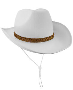Adult White Felt Rodeo Cowboy Western Cowgirl Hat Halloween Costume Accessory