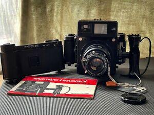 Mamiya Universal Press 6x9 Medium Format Camera w, 6x7 back & original manual